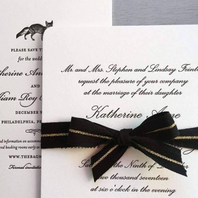 Black Tie Wedding Invitations All Script Letterpress Wedding Invitations For A Black Tie Wedding