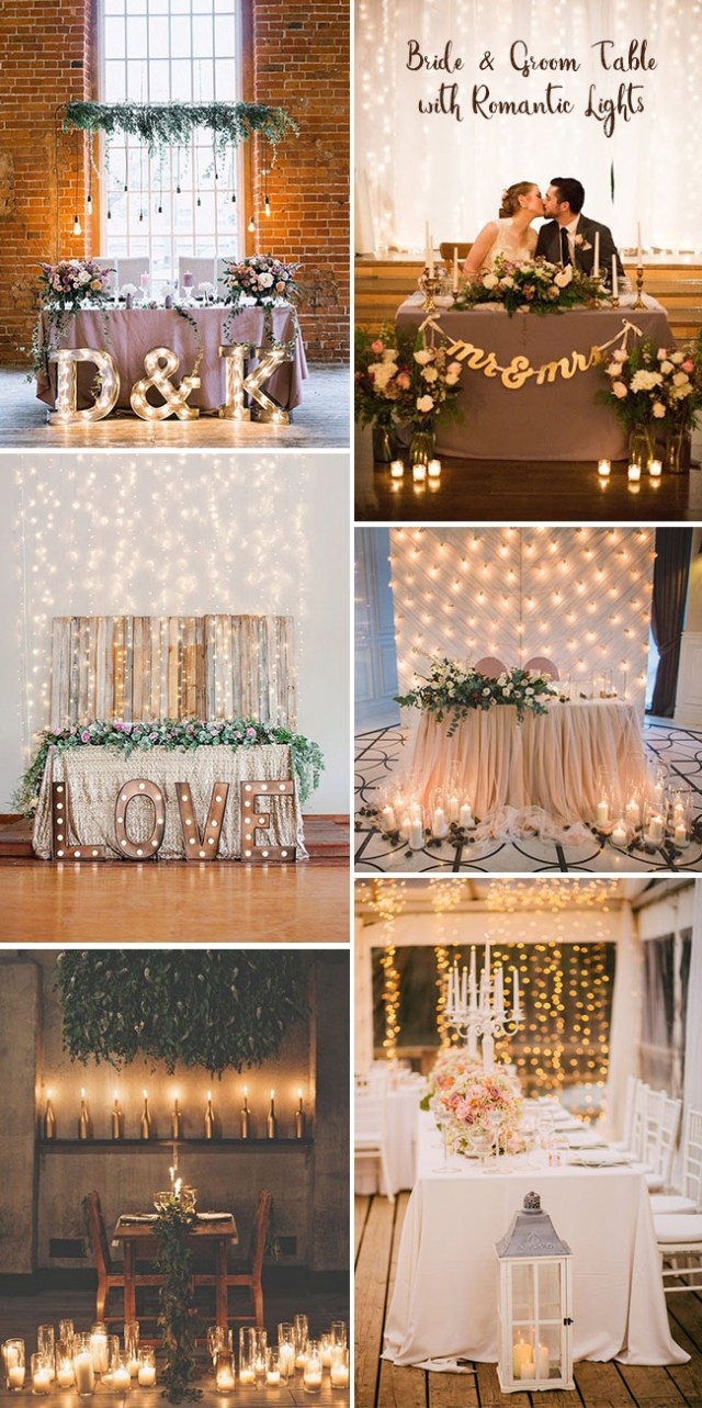 Bride Groom Wedding Table Decorations Sweetheart Bride And Groom Wedding Table Ideas With Romantic Lights