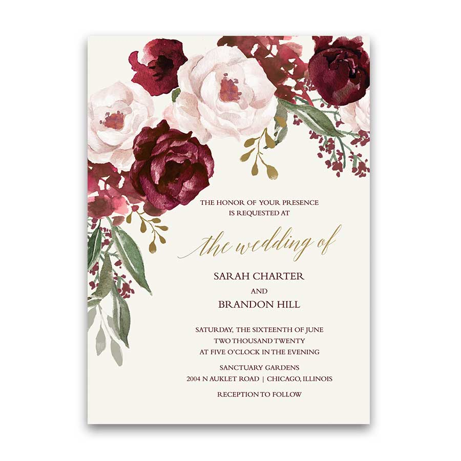 Burgundy Wedding Invitations Fall Wedding Invitations Burgundy Wine Gold Blush Floral