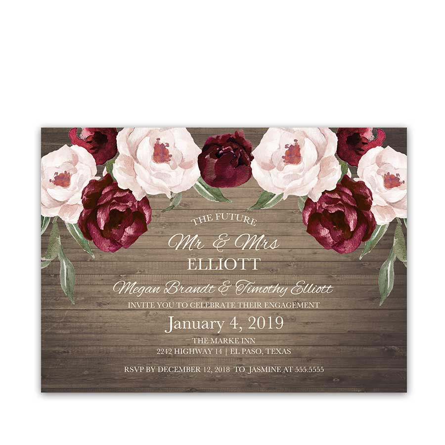 Burgundy Wedding Invitations Floral Engagement Party Invitations Burgundy Fall Wedding