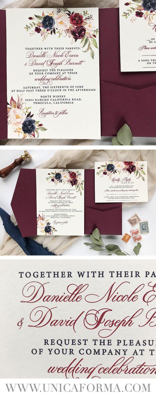Burgundy Wedding Invitations Ivory And Burgundy Wedding Invitations Burgundy Floral Invitations