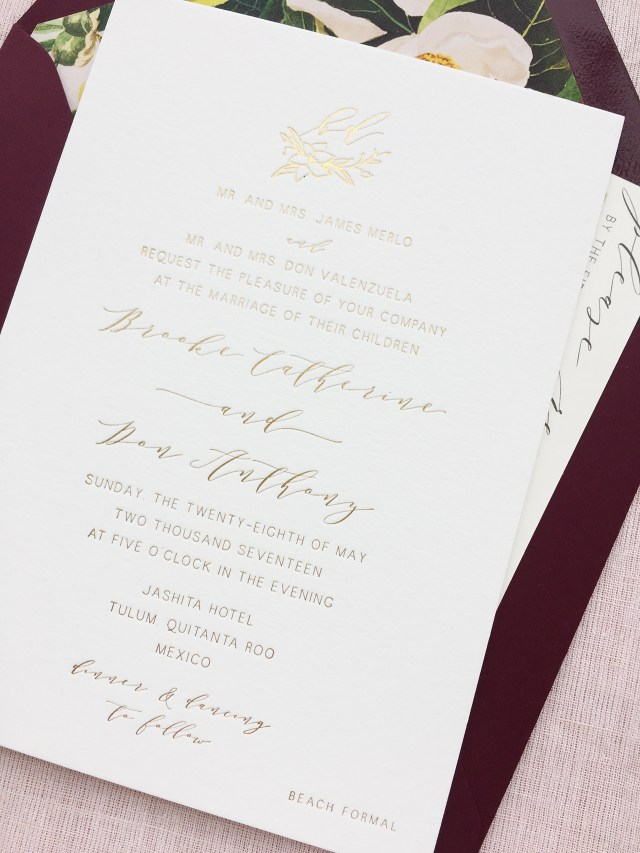 Burgundy Wedding Invitations Romantic Burgundy And Gold Foil Wedding Invitations