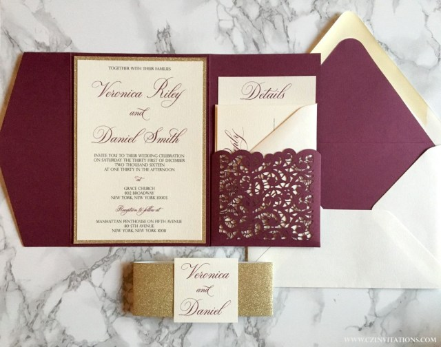 Burgundy Wedding Invitations This Laser Cut Pocket Invitation Is Sure To Impress Your Guests The