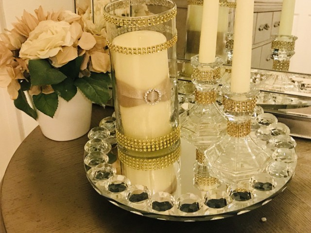 Candle Decorations For Wedding Ceremony Beautiful Unity Candle 6 Piece Set Faux Rhinestone Decorated Etsy