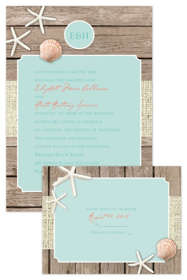 Cheap Beach Wedding Invitations Beach Retreat Invitation With Free Response Postcard In 2018