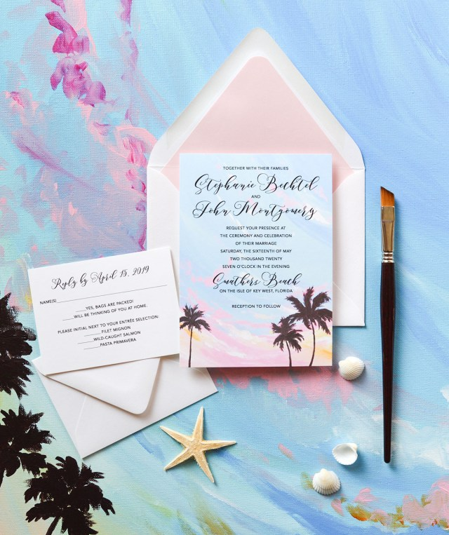 Cheap Beach Wedding Invitations Beach Themed Wedding Invitation Sets Surprising Invitations