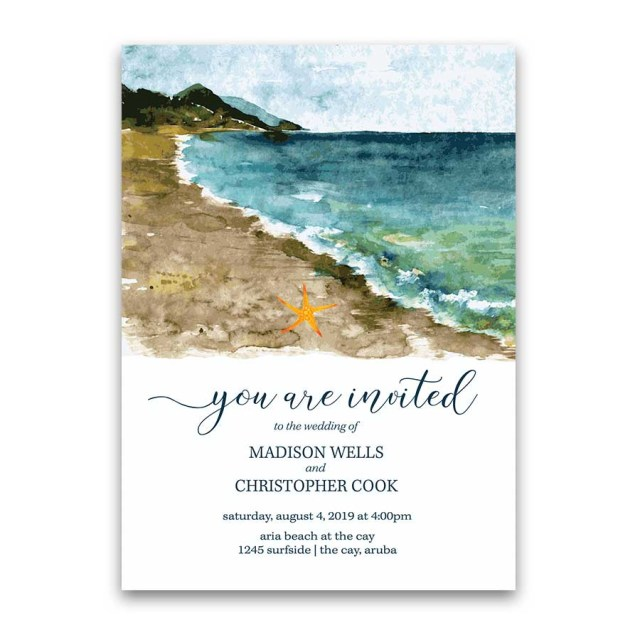 Cheap Beach Wedding Invitations Beach Wedding Invitation Sea Inspired Watercolors Destination Wedding