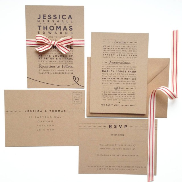 Cheap Wedding Invitations Sets Henley Rustic Kraft Wedding Stationery Set Megan Claire
