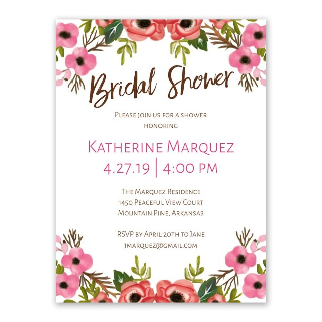 Cheap Wedding Shower Invitations Blooming Beauty Bridal Shower Invitation Anns Bridal Bargains