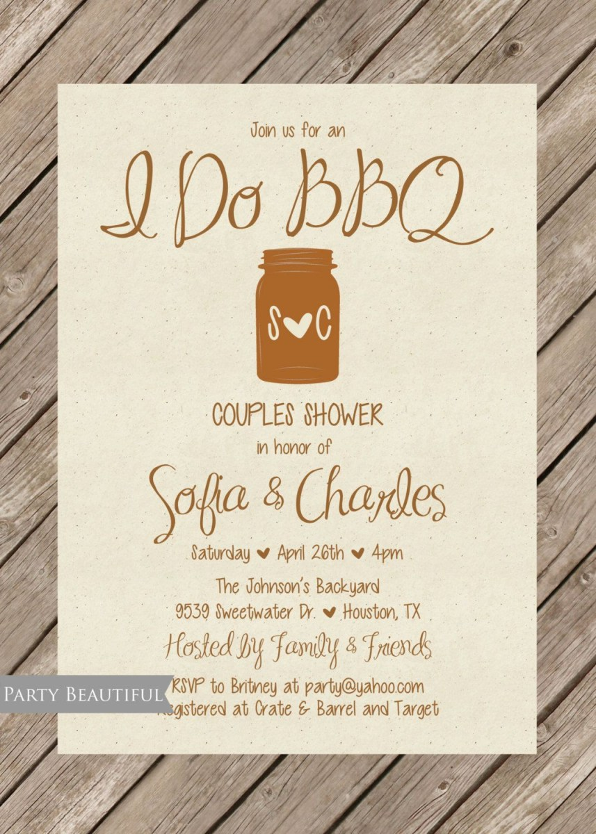 Coed Wedding Shower Invitations Couples Or Coed Wedding Shower Invitation Rustic I Do Bbq Mason