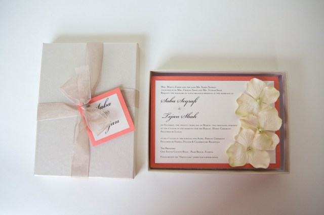 Coral Wedding Invitations Box Invitation Boxed Wedding Invitation Flowers And A Touch Of