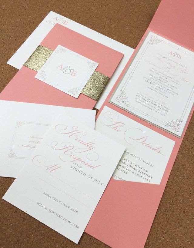 Coral Wedding Invitations Coral And Gold Pocket Envelope Wedding Invite Graphic Nature