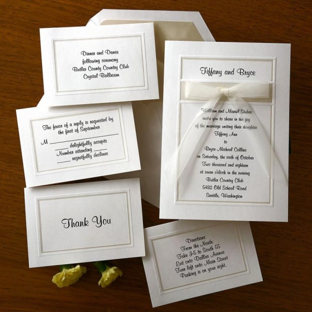 Custom Wedding Invitation Classy Organza Wedding Invitation Set Raised Thermography Wedding