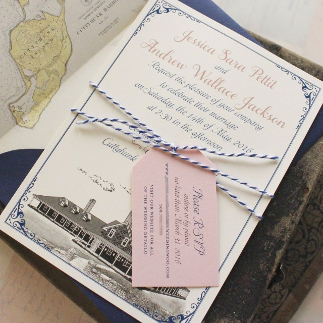 Custom Wedding Invitation Custom Illustration Flat Card Wedding Invitation Cuttyhunk Island