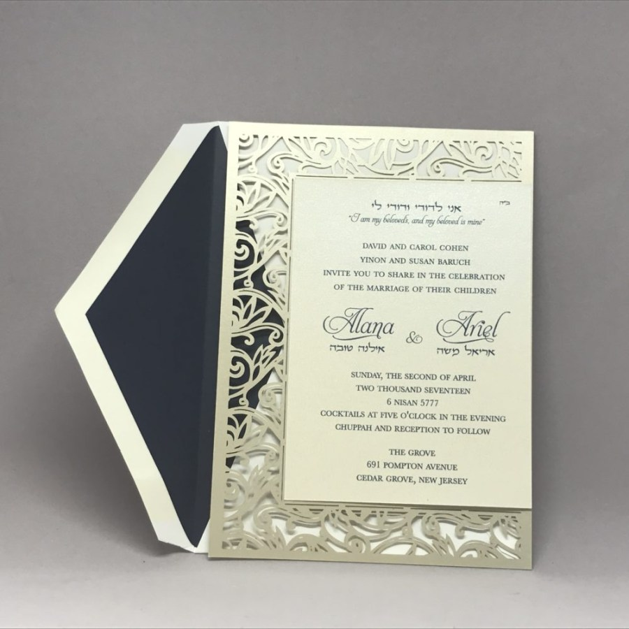 Custom Wedding Invitation Printing Fancy Laser Cut Hebrew And English Wedding Invitation Custom