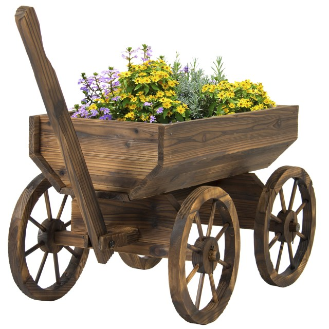 Decorating Wagon For Baby In Wedding Best Choice Products Garden Wood Wagon Flower Planter Pot Stand With
