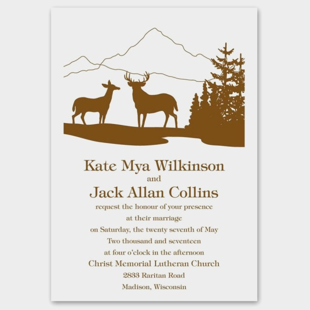 Deer Wedding Invitations Deer Silhouettes Invitation Anns Bridal Bargains Deer Wedding