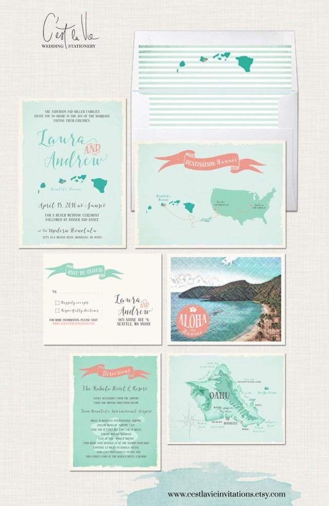 Destination Wedding Invitation Hawaii Destination Wedding Invitation Oahu Wedding Aloha Etsy