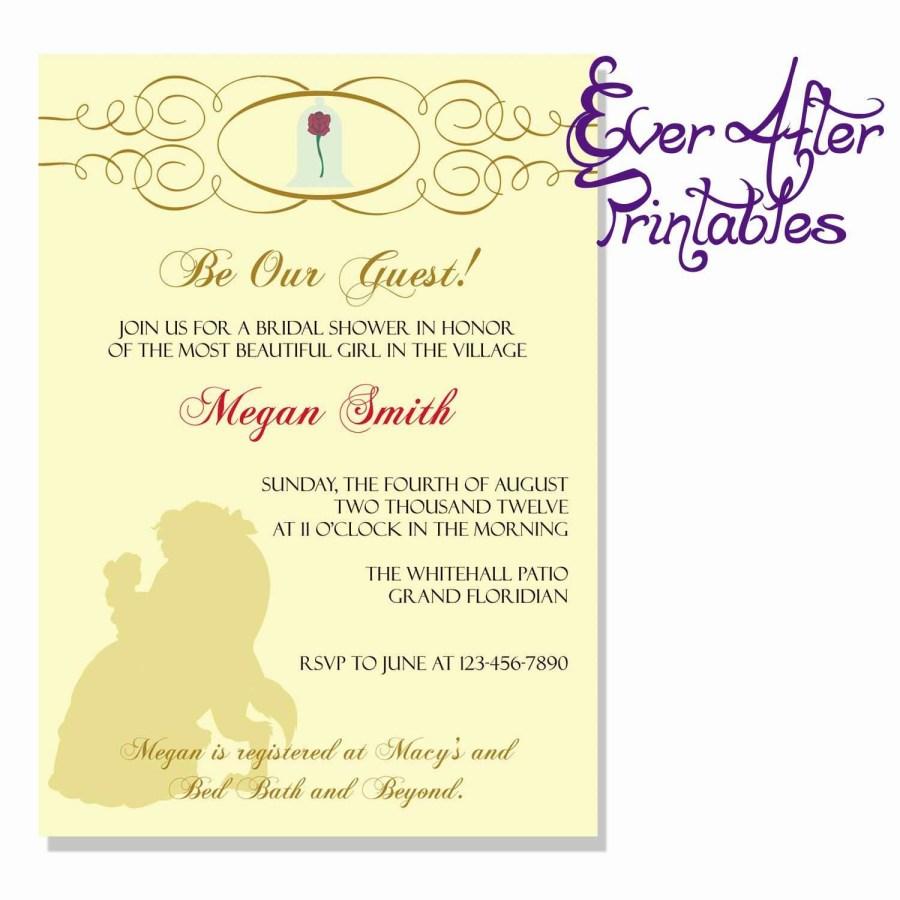 Disney Themed Wedding Invitations Disney Themed Bridal Shower Inspirational Invitation Disney Princess