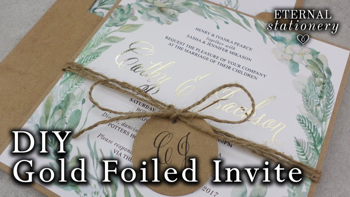 Do It Yourself Wedding Invitations Diy Gold Foil Wedding Invitations Rustic Watercolour Succulents