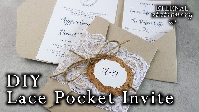 Do It Yourself Wedding Invitations How To Make Rustic Lace Pocket Wedding Invitations With Cork Tag