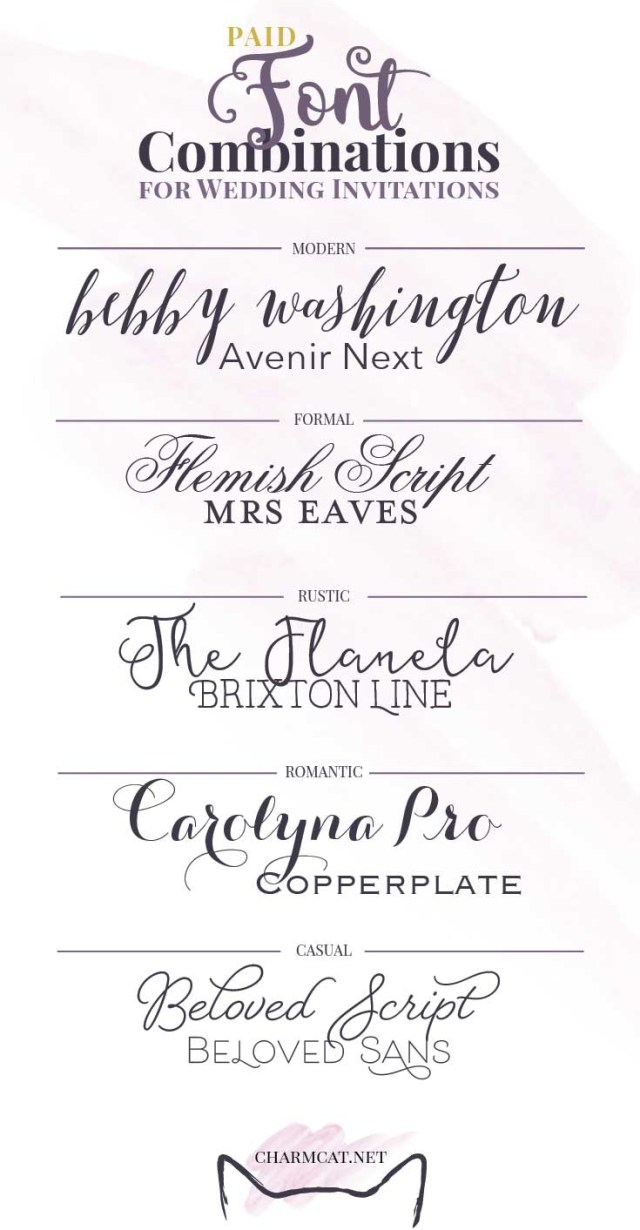 Font For Wedding Invitations Great Font Combinations For Wedding Invitations Charmcat Creative