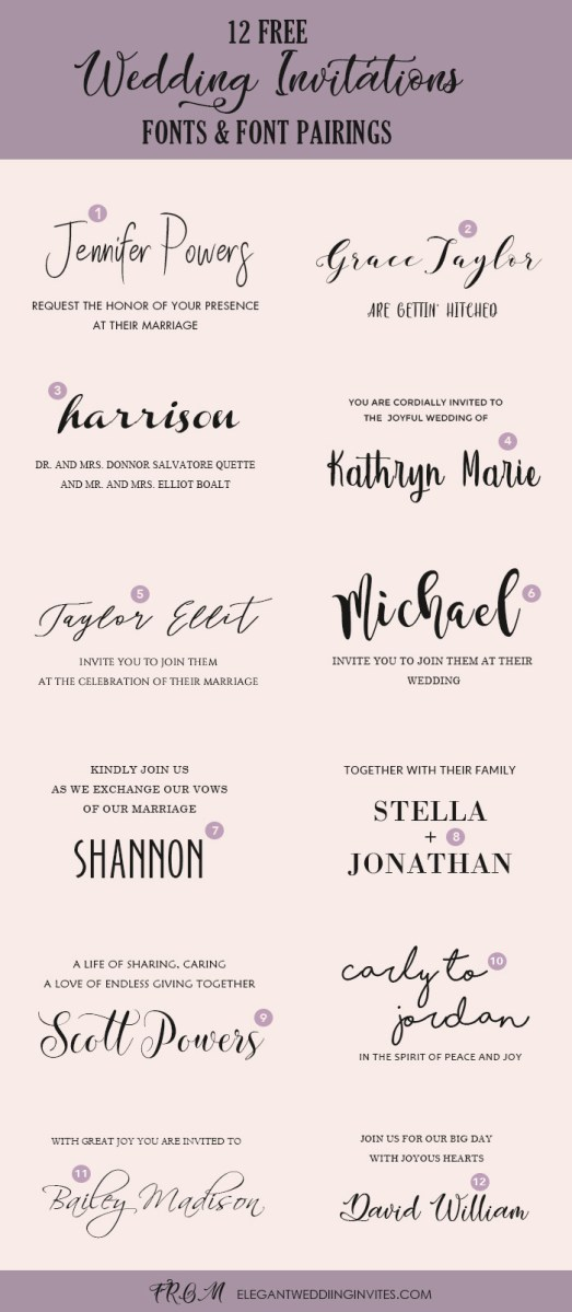 32+ Creative Picture of Font For Wedding Invitations
