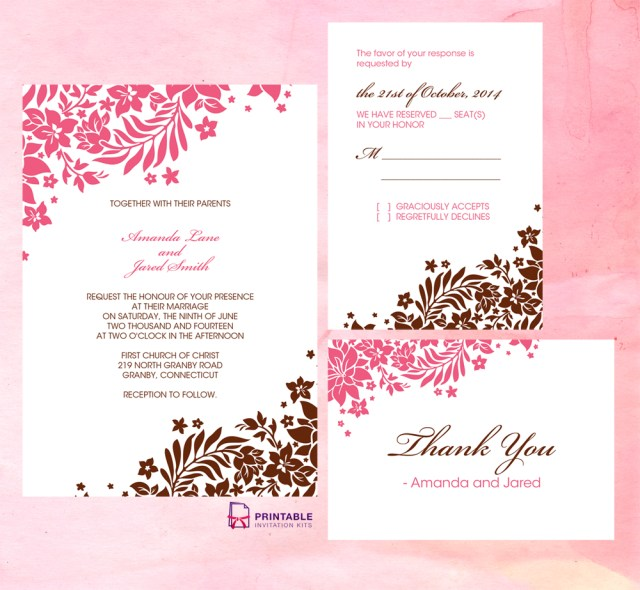 Free Printable Wedding Invitation Templates Download Template For Invitations 4 Per Page