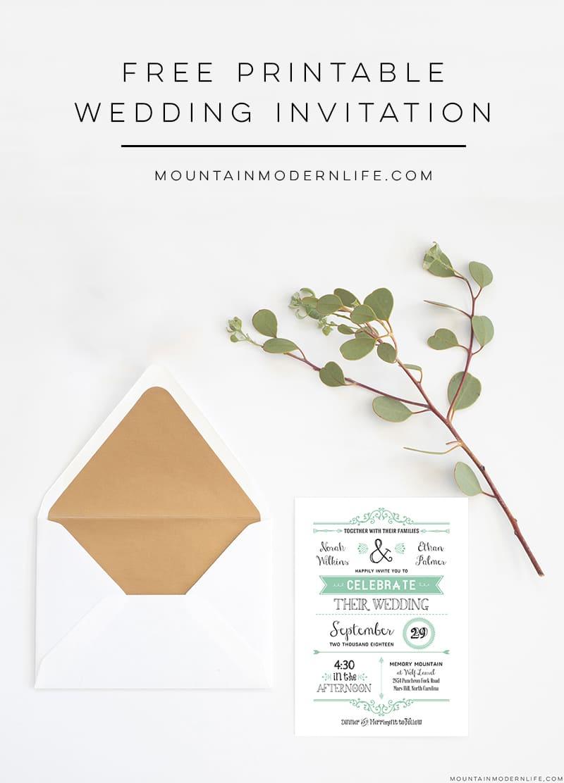 Free Wedding Invitation Printables Free Wedding Invitation Template Mountainmodernlife