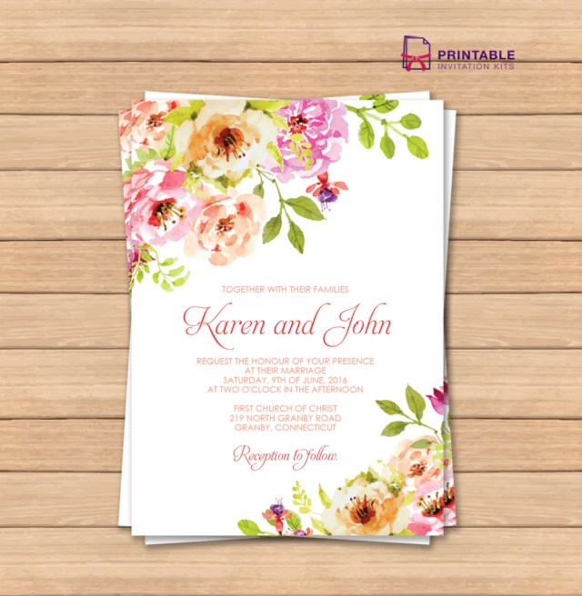 Free Wedding Invitation Template This Would Be Great With Different Colors Free Pdf Wedding