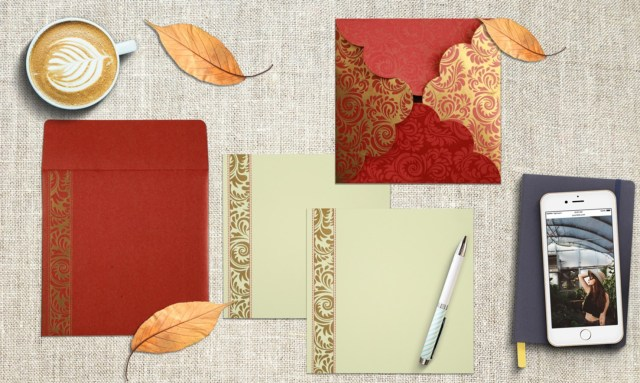 Hindu Wedding Invitations Red Shimmery Floral Themed Invitations Honeybook