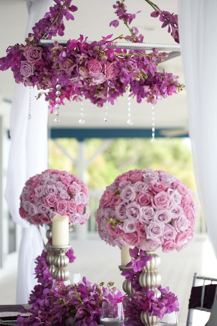 Hot Pink And Silver Wedding Decorations Hot Pink And White Wedding Silver Color Schemes Hanging Centerpiece