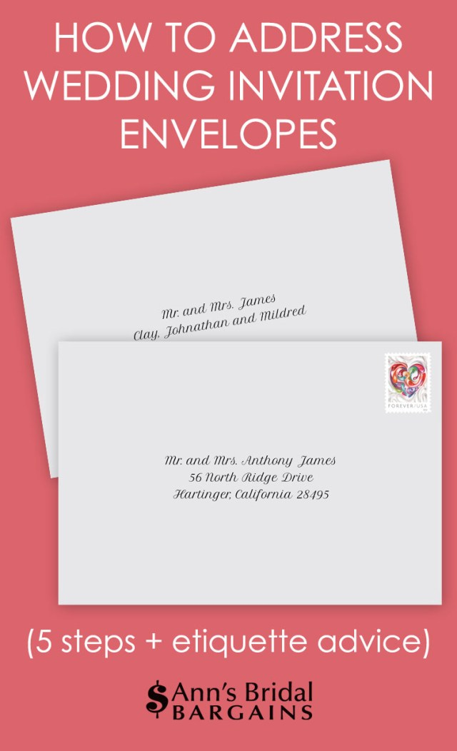 How To Address Wedding Invitations With Guest How To Address Wedding Invitation Envelopes Anns Bridal Bargains