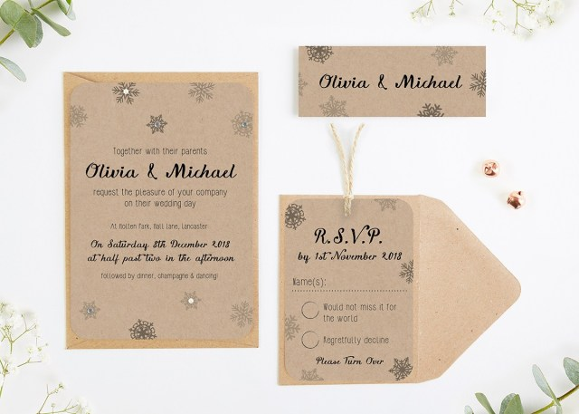 Images Of Wedding Invitations Kraft Snowflake Wedding Invitations Normadorothy