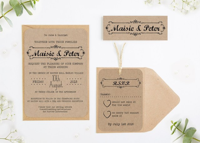 Images Of Wedding Invitations Kraft Wedding Invitations Normadorothy