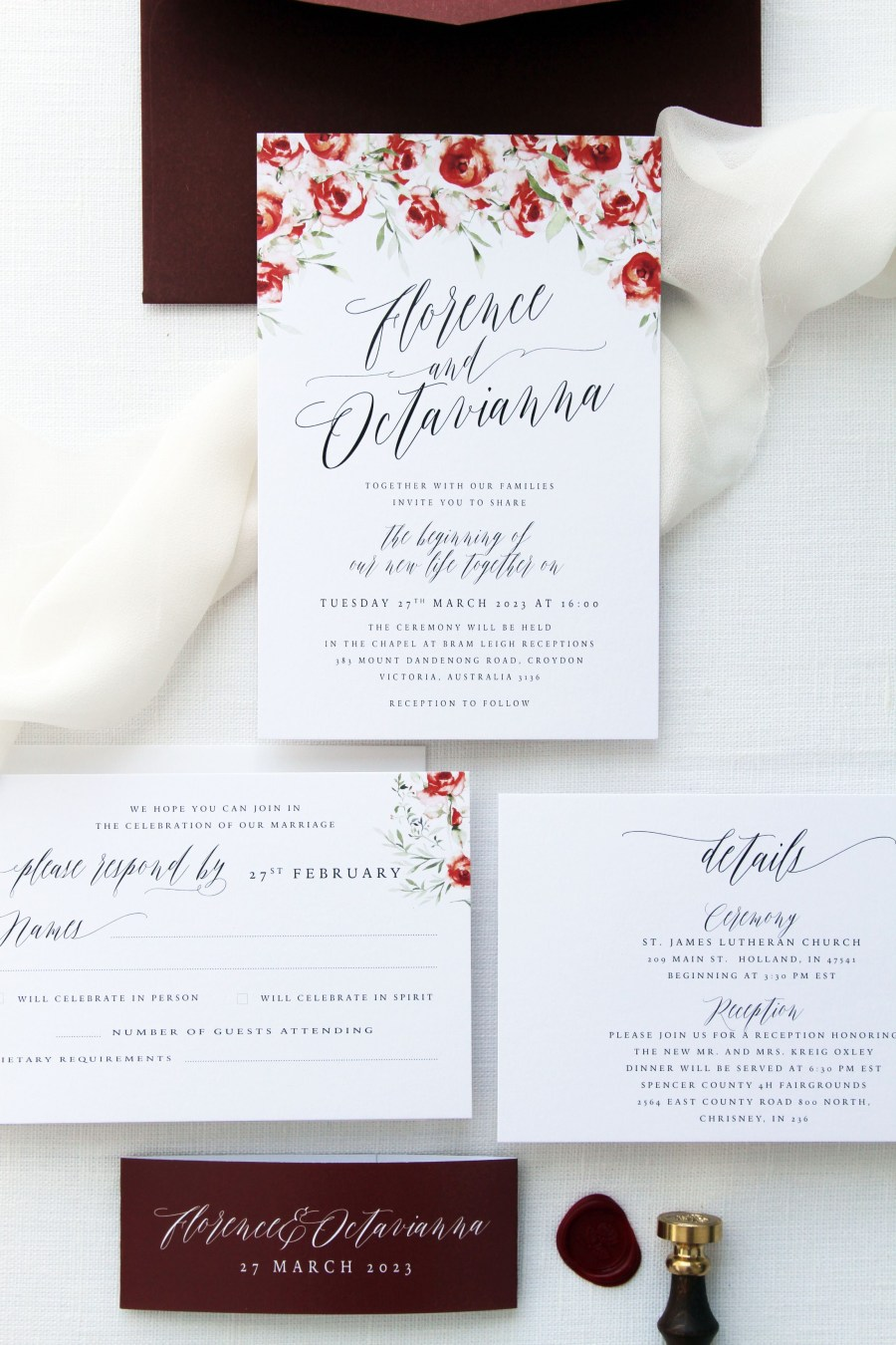 Invitations For Weddings Florence Burgundy And Red Wedding Invitation Sets Watercolour