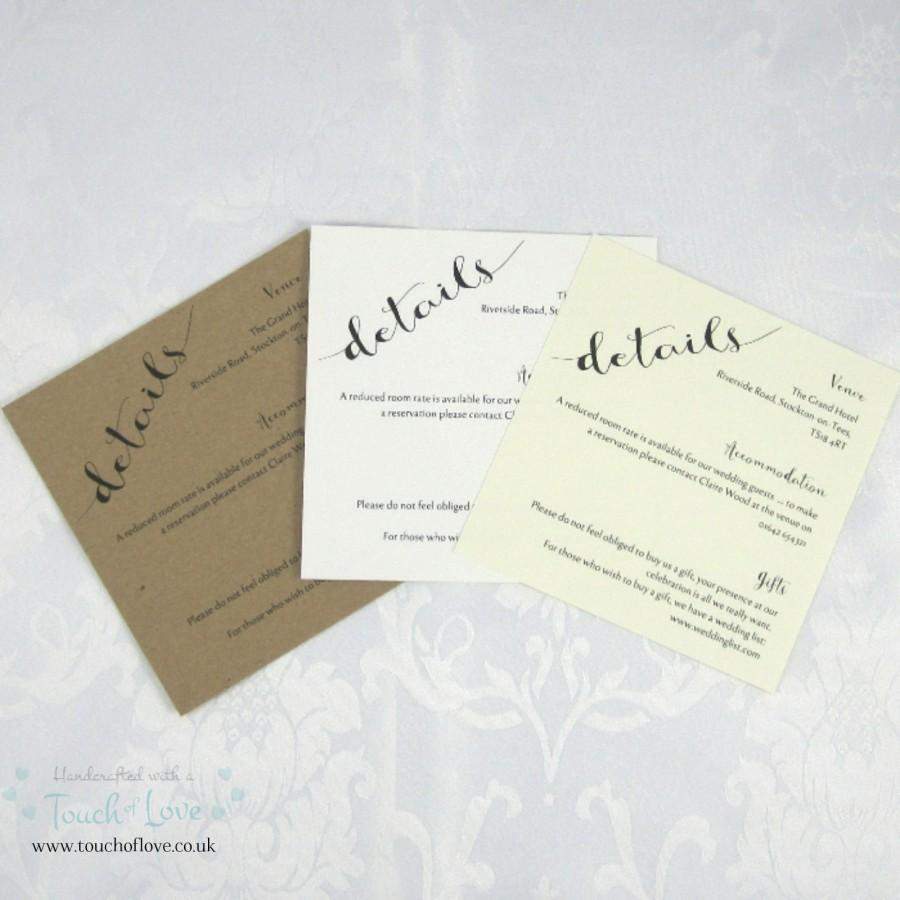 Ivory Wedding Invitations Handmade Rustic Charm Matching Information Card For Wedding