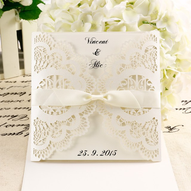 Laser Cut Wedding Invitations Diy 10x Diy Laser Cut Lace Wedding Invitations Card Envelope W Ribbon