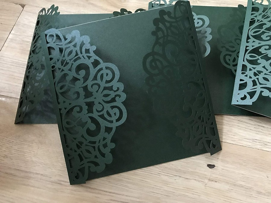 Laser Cut Wedding Invitations Diy Buy Square Blackish Green Laser Cut Wedding Invitationsdiy Laser