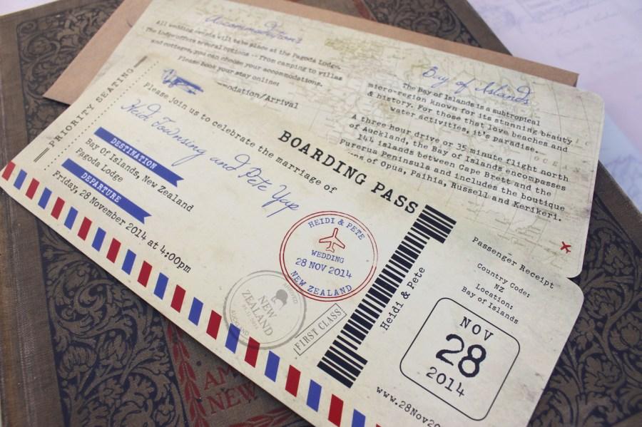 Mailing Wedding Invitations Vintage Air Mail Boarding Pass Wedding Invitation New Zealand