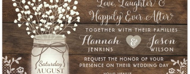 Mason Jar Wedding Invitations Rustic Wood Lace Wedding Invitation Mason Jar Invitation Wedding