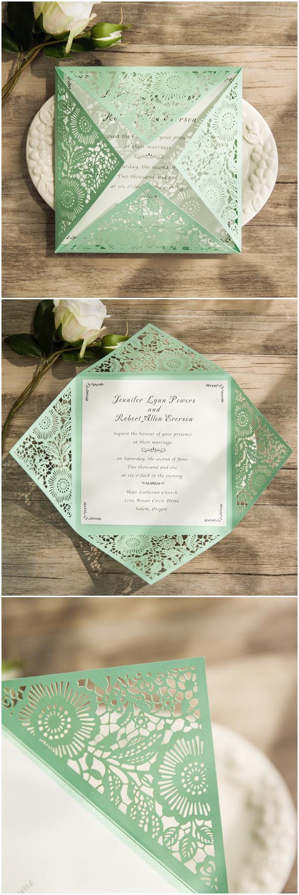 Mint Green Wedding Invitations Elegant Mint Green Laser Cut Wedding Invitations For Romantic