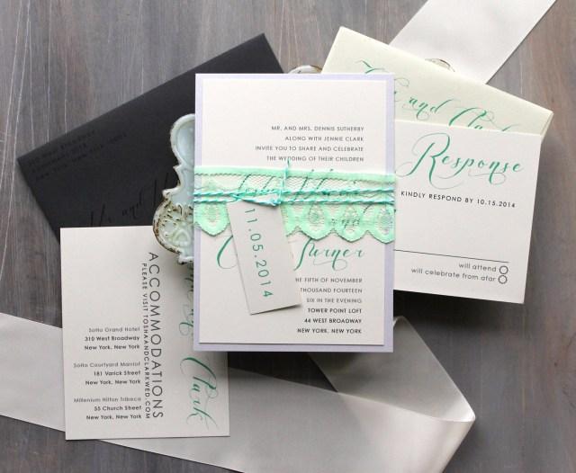 Mint Green Wedding Invitations Elegant Script Wedding Invitations Mint Green And Gray Etsy