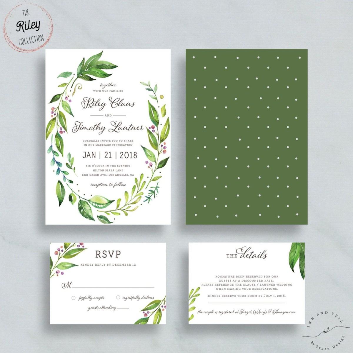 Mint Green Wedding Invitations Greenery Wedding Invitation Set Garden Wedding Invitations Suite