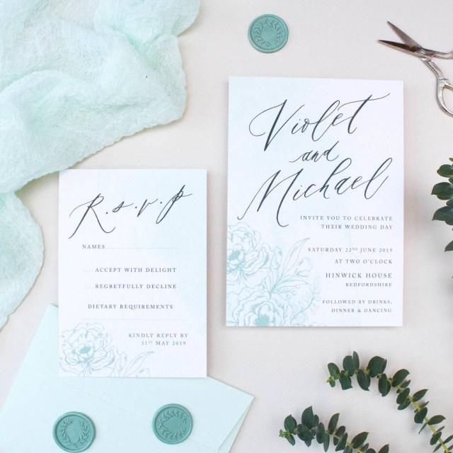 Mint Green Wedding Invitations Mint Green Calligraphy Wedding Invitation Nina Thomas Studio