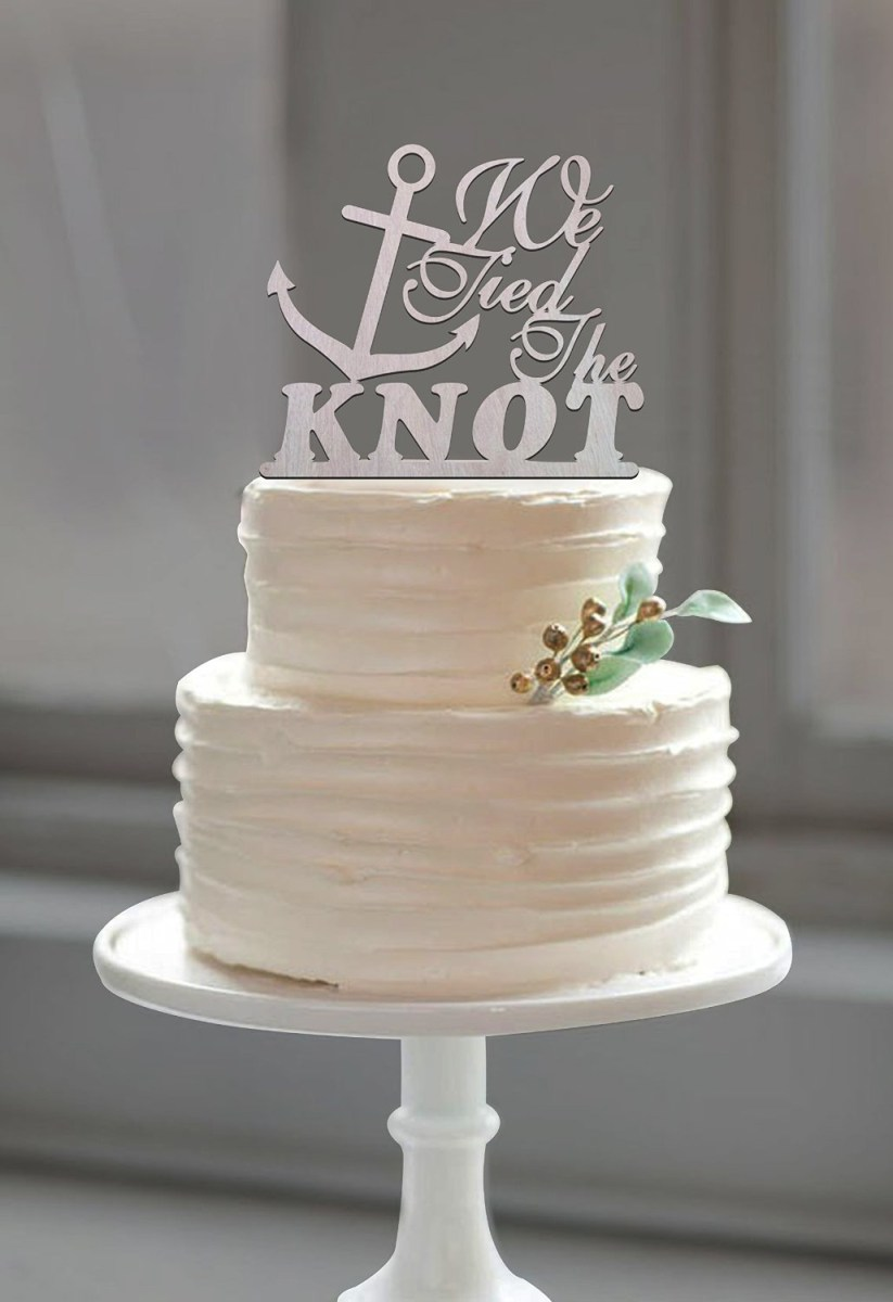 Nautical Wedding Decor Beach Wedding Anchor Cake Topper Tied The Knot Quote For Nautical