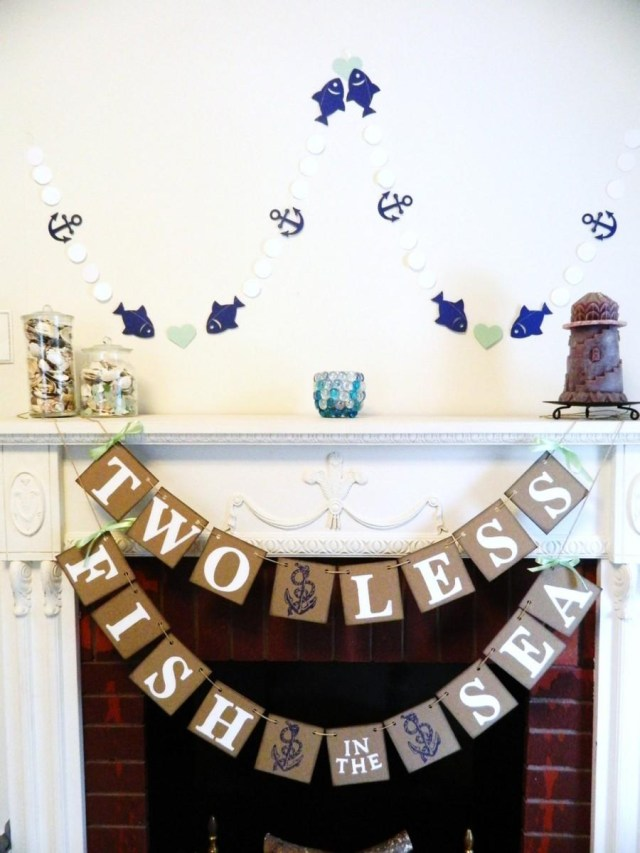 Nautical Wedding Decor Two Less Fish In The Sea Banner Nautical Wedding Decor Couples