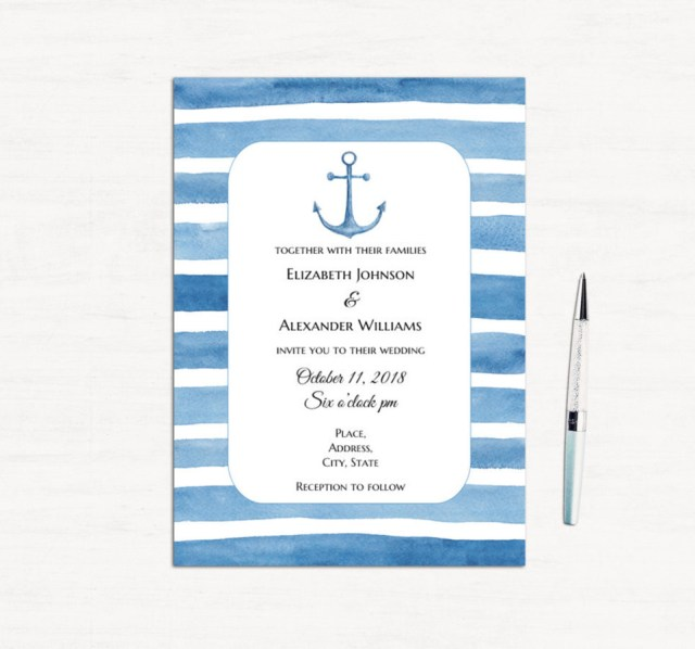 Nautical Wedding Invitation Template Beach Wedding Invitation Template Blue Invitation Cards Etsy