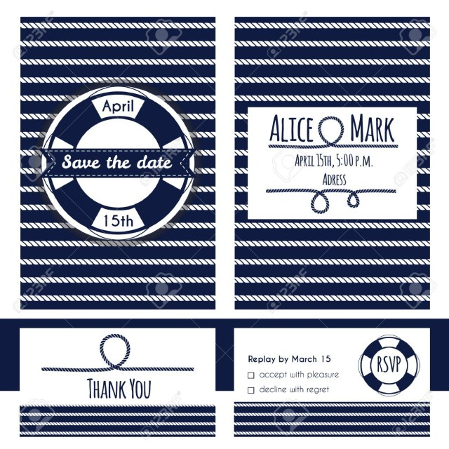 Nautical Wedding Invitation Template Nautical Wedding Invitation And Rsvp Card Template Lifebuoy