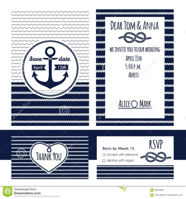Nautical Wedding Invitation Template Nautical Wedding Invitation And Rsvp Card Template Stock Vector
